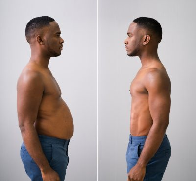 a man in jeans before and after weightloss