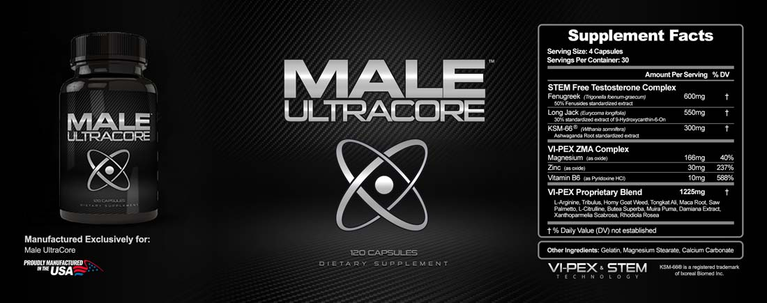 Male UltraCore Label male performance Ingredients